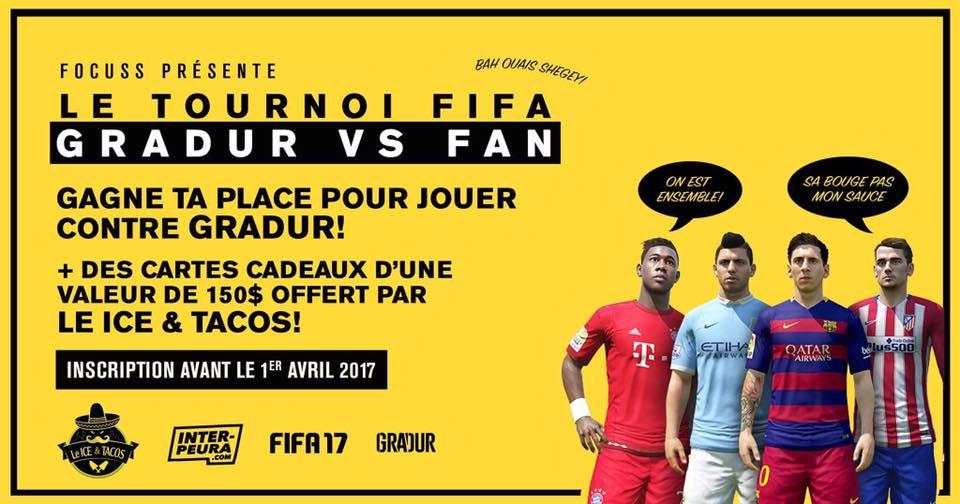 ALERTE : Aujourd'hui c'est votre dernière chance pour jouer à FIFA17 contre Gradur !